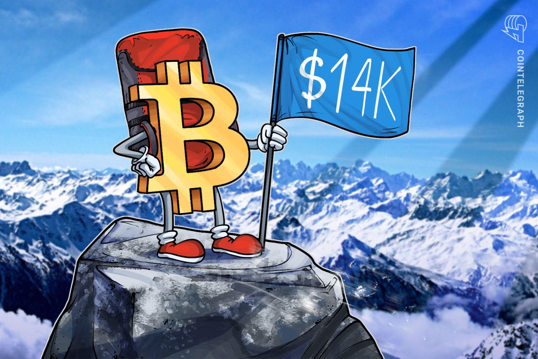 Bitcoin pokoril 14 000 prvý krát od januára 2018